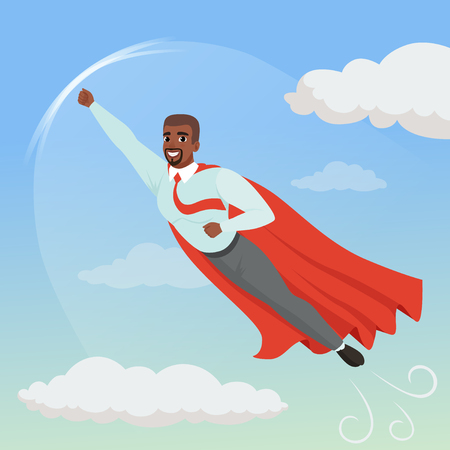 Cartoon afro-american man with superhero cloak flying in blue sky. Professional growth and promotion concept. Illustration