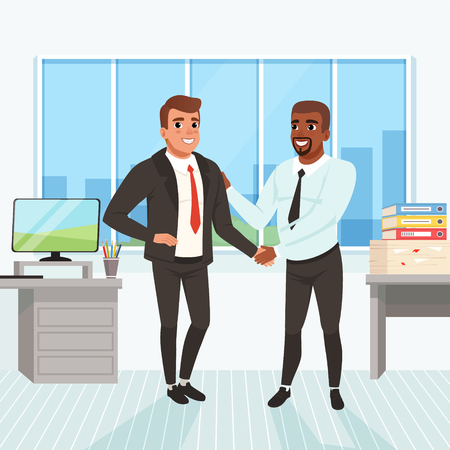 Boss congratulating employee with career promotion. Successful deal. Business people shaking hands in office. Window, table, monitor, stack of paperwork and folders on background. Flat vector design Stock Illustratie