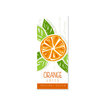 Creative hand drawn card or label with orange and green leaves. Original graphic design for juice or yogurt packaging. Promo banner for sweet beverage. Colorful vector illustration isolated on white.