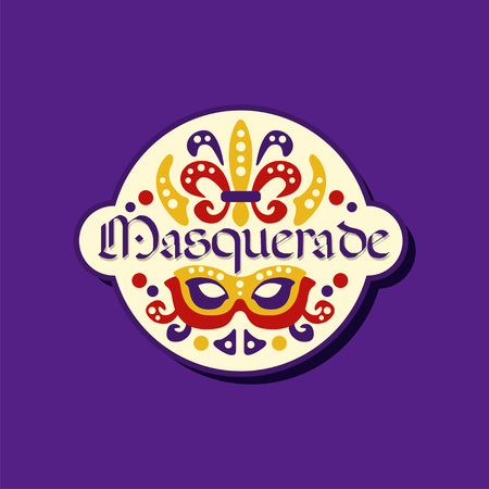 Colorful logo or label for masquerade. Carnival stickers with Brazilian feather headdress, original lettering font with decoration. Vector illustration for event or show isolated on purple background. Illustration