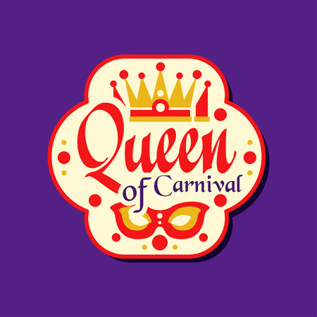 Colorful logo or label for Queen of Carnival award. Flat festive holiday sticker with masquerade mask and crown.