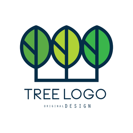 Tree logo original design, green eco badge, abstract organic element vector illustration isolated on a white background