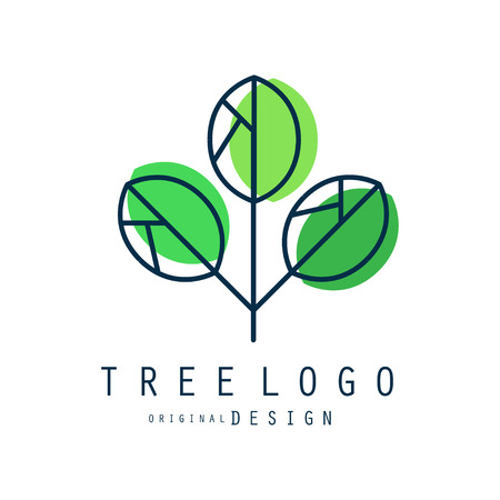 Tree logo original design, green eco and bio badge, abstract organic element vector illustration isolated on a white background