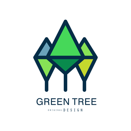 Green tree logo template original design, abstract organic element vector illustration