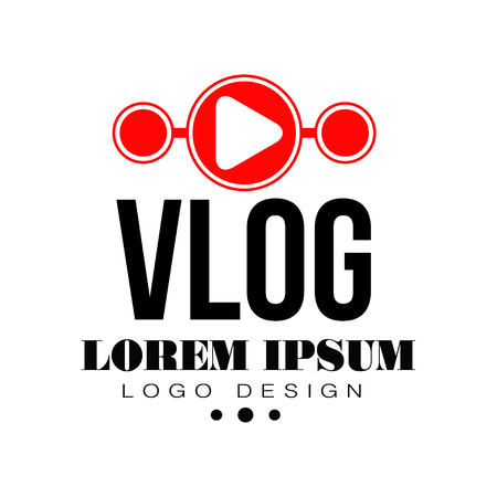 Original vlog or digital online blog badge with red play button and place for text. Video channel icon. Live stream. Trendy web television logo. Vector illustration isolated on white background. Illustration