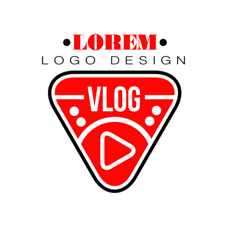 Geometric logo for vlog or Youtube channel in shape of red play button. Internet blog with visual information. Modern web television. Online broadcast. Vector illustration isolated on white background