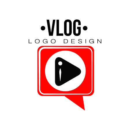 Flat vector emblem with black play button in red speech bubble. Videoblogging concept. Geometric logo for video channel, live stream or online broadcast Illustration