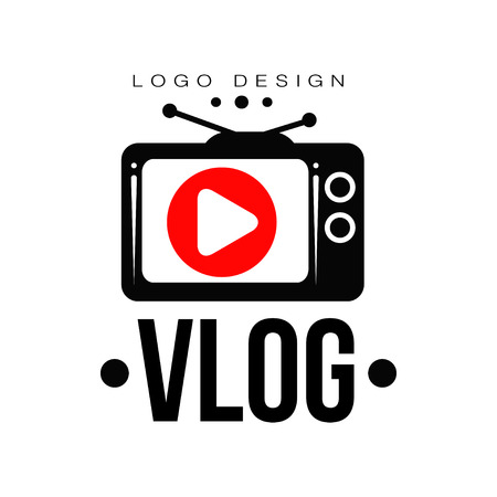 Creative logo for video vlog or channel. Emblem with red play button on retro TV screen. Trendy label with place for your text. Internet television. Vector illustration isolated on white background. Illustration