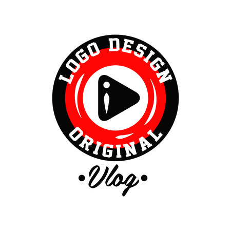 Original round logo design for online video blogging with play button. Live vlog emblem with place for text. Modern icon in red and black colors. Vector illustration isolated on white background.