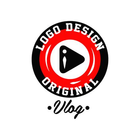 Original runde Logo-Design für Online-Video-Blogging mit Wiedergabetaste. Live-Vlog-Emblem mit Platz für Text. Moderne Ikone in den roten und schwarzen Farben. Vektorabbildung getrennt auf weißem Hintergrund. Standard-Bild - 94522605