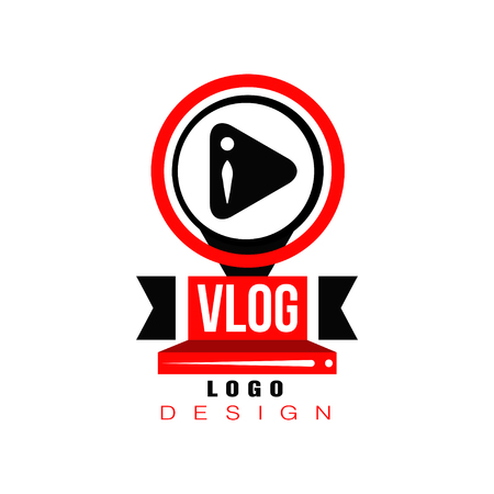 Trendy logo with play button in circles. Original badge for online TV, information channel or Youtube live stream. Icon in red and black colors. Vector illustration isolated on white background.