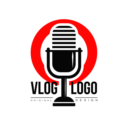 Interesting logo with retro microphone and red circle on background. Vlog or video blogging concept. Live stream badge. Simple icon with place for text. Original vector design in flat style. Illustration