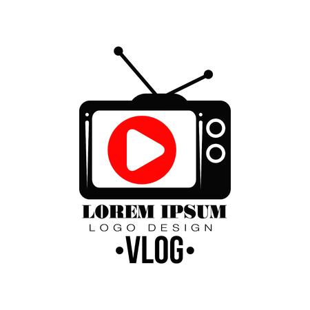 Rótulo de vetor original com botão vermelho na tela retrô da tv. Logo para o seu canal no Youtube. Conceito de televisão na web. Simples ícone plana com lugar para texto. Logos