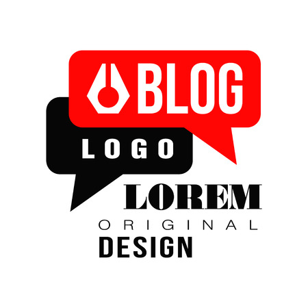 Vlog or video blog label with black and red speech bubbles. Original vector emblem for internet or online television. Concept of visual-communication blog