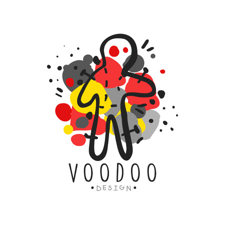 Silhouette of voodoo doll with needles for mystical store label template vector illustration