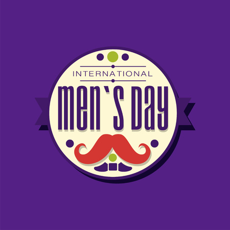 International Men s Day typography label design in circle with ribbon. Male s mustache. Decoration element for holiday celebration. Vector flat festive illustration