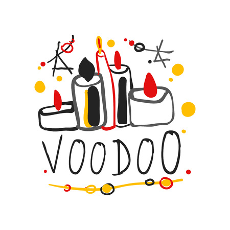 Kid s style drawing Voodoo magic logo or label template design with stars and candles. Spiritual theme creative print. Hand drawn mystical vector illustration