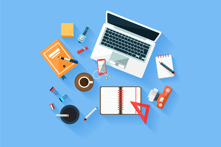 Home or office modern workplace top view concept with laptop, diary, phone, camera, different stationery and cup of coffee. Vector flat illustration on blue background.