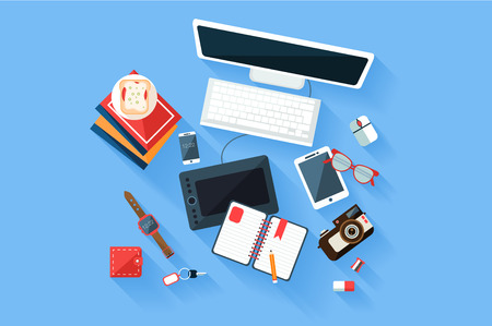 Colorful modern designer workplace top view. Desk with computer monitor and keyboard, graphic tablet, diary and books, phone, camera, sandwich. Trendy flat vector illustration.