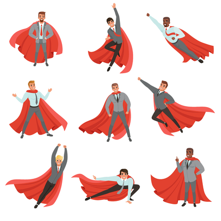 Superhero business men in different poses. Cartoon characters in formal clothes with ties and red capes. Career advancement. Successful office workers. Flat vector illustration.