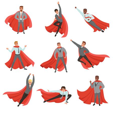다른 포즈에서 슈퍼 히어로 비즈니스 남자입니다. 넥타이와 빨간 망 토 공식 옷에 만화 캐릭터. 경력 향상. 성공적인 사무실 노동자입니다. 플랫 벡터