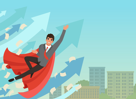 Businessman flying up with growing statistics arrows. Successful young worker in formal suit and red superhero cloak. Blue sky and office building on background. Flat vector Illustration
