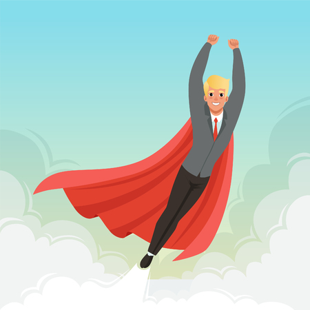 Young businessman flying with hands up on blue sky. Career advancement. Cartoon guy in suit, red tie and superhero mantle. Successful office worker. Flat vector design Banco de Imagens - 94524624