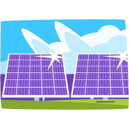Solar power plant, ecological energy producing station, renewable resources horizontal vector illustration. Ilustração