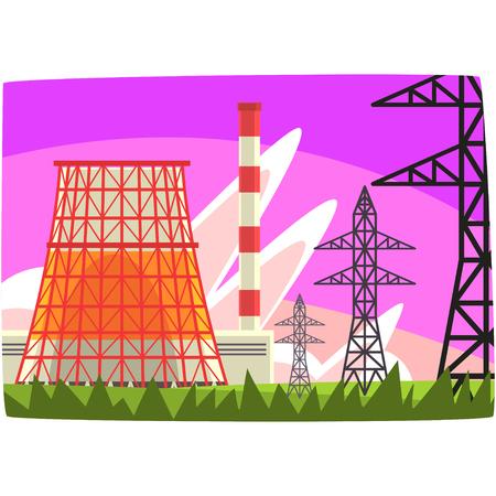 Traditional energy generation power station, electricity generation plant horizontal vector illustration