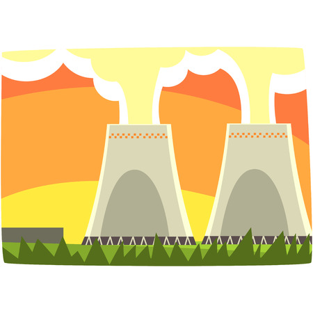 Energy generation power station, nuclear energy, horizontal vector illustration on a white background Vettoriali