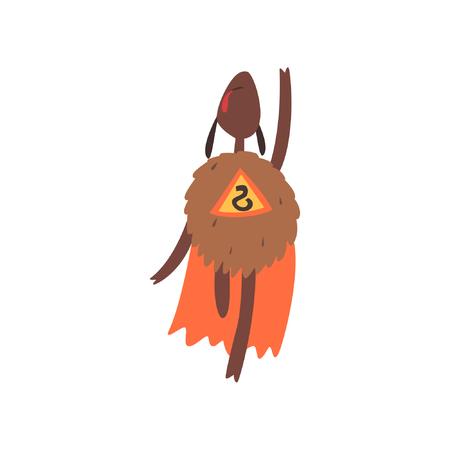 Funny superhero sheep character in an orange cape cartoon vector illustration