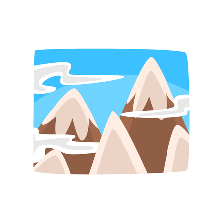 Snowy rocky mountains and blue sky with clouds, beautiful winter landscape background horizontal vector illustration.
