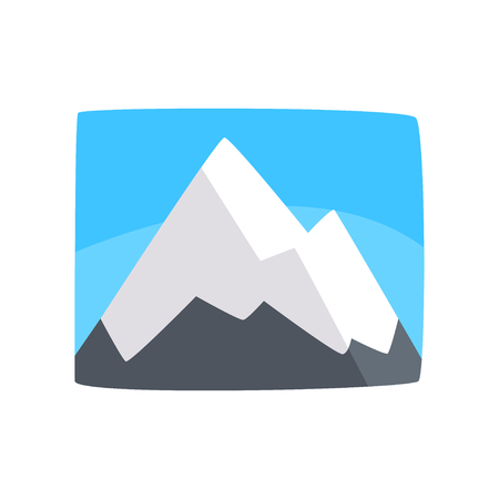 Snowy rocky mountains and blue sky, beautiful winter landscape background, horizontal vector illustration.