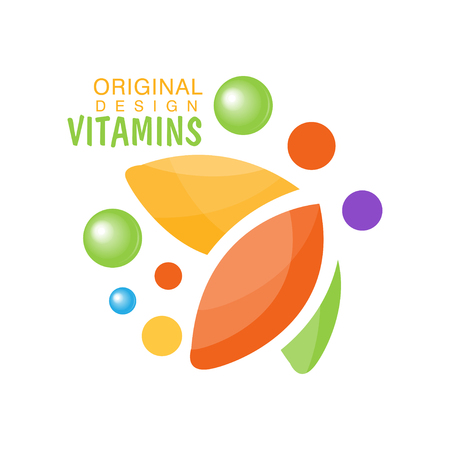 Vitamins icon original design, herbal supplement, health care colorful vector illustration.