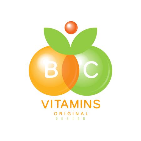 Vitamins B and C icon template original design, pharmacy label, natural medicine vector illustration.