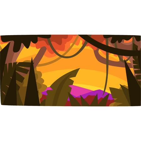 熱帯ジャングルの夕日、葉、茂みや木々と緑の木の背景、熱帯雨林の風景ベクトルイラスト。 写真素材 - 94537850