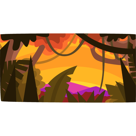 Sunset in tropical jungle, greenwood background with leaves, bushes and trees, tropical rain forest scenery vector illustration.