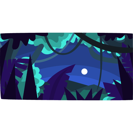 Tropical jungle with wood silhouettes and moon, beautiful tropical forest background at night vector illustration, night forest backdrop