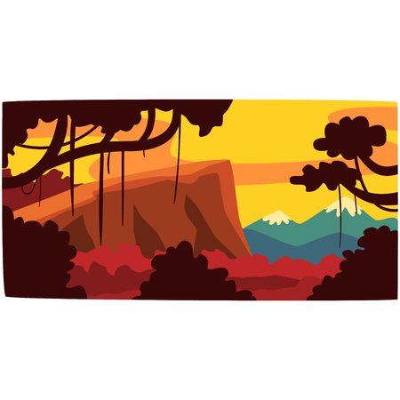 Sunset in tropical jungle, greenwood background with leaves, bushes and trees, evening rainforest scenery vector illustration Illustration