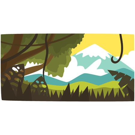 熱帯ジャングルと山の背景、日中の熱帯雨林の風景ベクトルイラスト。