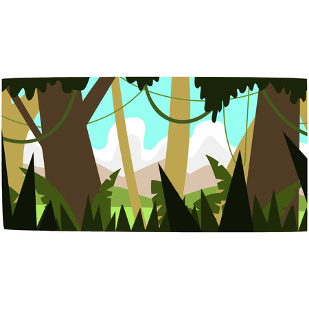 Deep tropical jungle background, tropical rain forest scenery in a day time vector illustration.