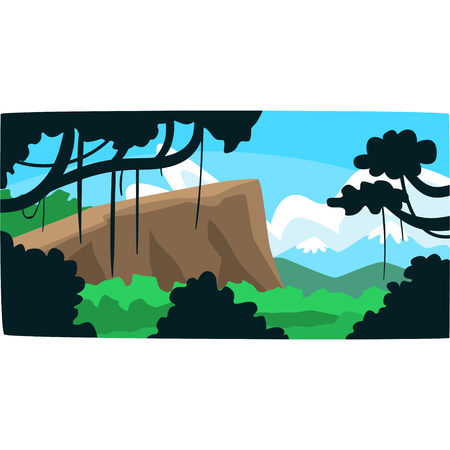 Tropical jungle, greenwood background with leaves, bushes and trees, tropical rainforest scenery in a vector illustration, forest backdrop Ilustração