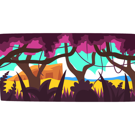 Tropical jungle, greenwood background with leaves, bushes and trees, tropical rain forest scenery in a day time vector illustration.