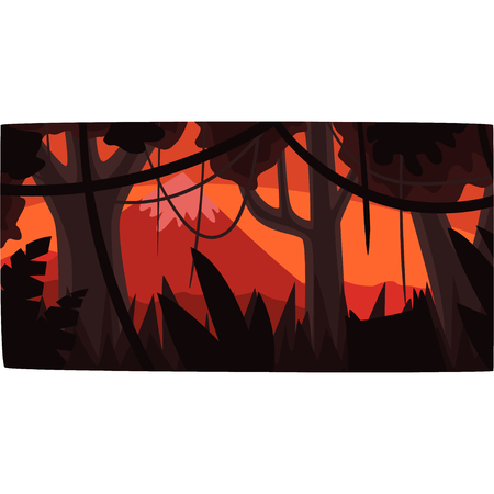 Tropical jungle background at sunset, beautiful tropical rainforest scenery vector illustration, night forest backdrop