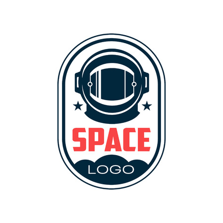 astronauts protective helmet in outline style. Space mission. Abstract emblem with dark blue sill. Graphic design element for t-shirt print, sticker, patch or badge. Isolated flat vector.
