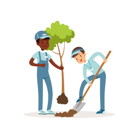 Two kids planting tree. Boys in working overalls and caps. One kid holding seedling in his hand, other digging pit with shovel. Gardening concept. Cartoon volunteers characters. Flat vector design