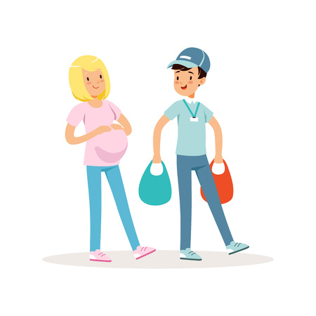 Teen boy helping pregnant woman with shopping packages. Cartoon kid character in blue cap, t-shirt and jeans. Teenager carrying bags with groceries. Volunteering concept. Isolated flat vector design Illustration