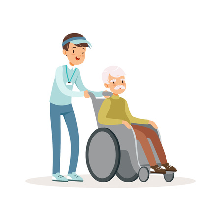 Cheerful teen boy pushing old man on wheelchair. Disability assistance. Kid volunteer in blue cap, shirt and jeans. Cartoon people character. Flat vector design.
