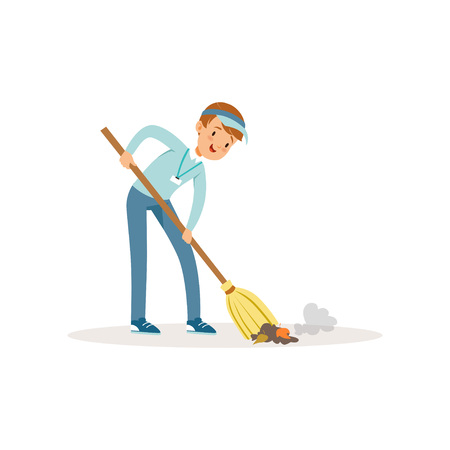 Cheerful boy sweeping trash using broom. Save Earth. Teenager wearing blue cap, jeans and shirt. Cartoon kid cleaning garbage. Volunteering concept. Social activist. Isolated flat vector illustration. Illustration