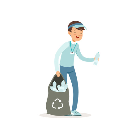 Cartoon kid character collecting empty plastic bottles into black bag. Volunteering concept, smiling boy in blue jeans, t-shirt and cap. Social activity flat vector illustration.